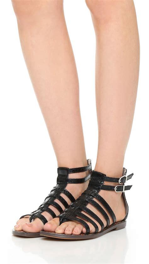 sam edelman black sandals sam edelman kendra flat sandals in black lyst