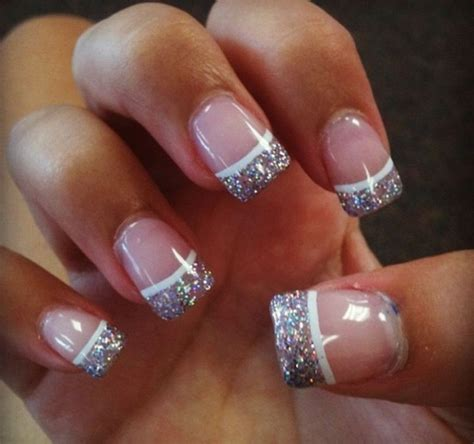 pattern acrylic nails french tip nails with glitter really pretty nails
