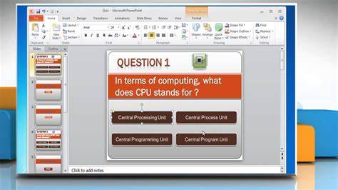 quiz theme powerpoint how to make a quiz on powerpoint 2010 youtube