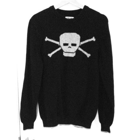 Sweater Black Skull 75 sweaters black skull and crossbones sweater from gab s closet on
