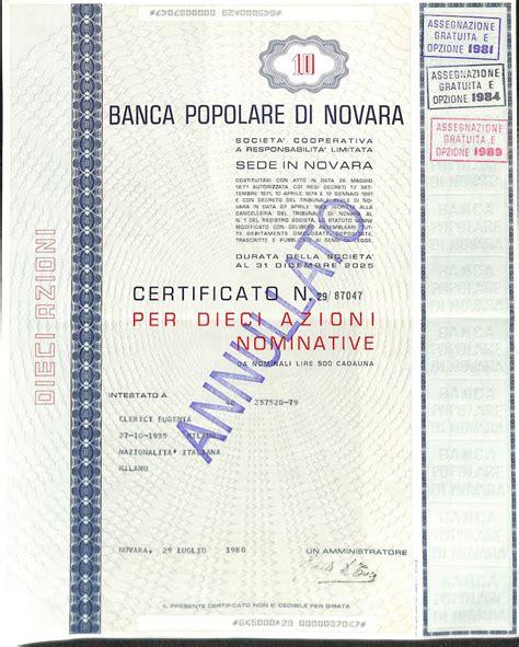 banco di novara popolare di novara titolo finanziario storico