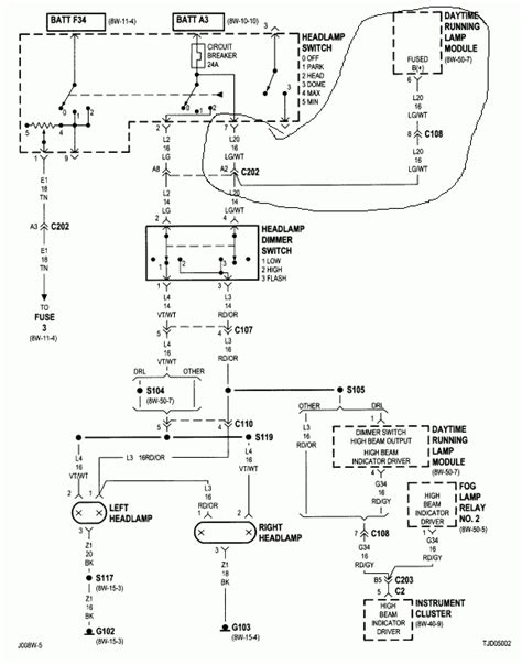jeep wrangler tj lights wiring wiring diagrams