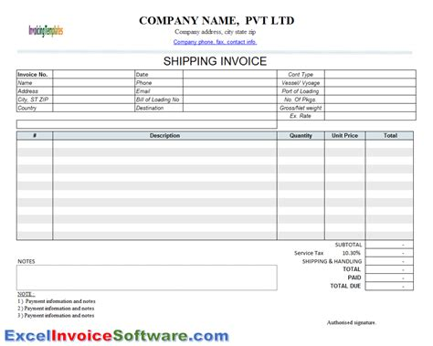 shipping invoice template 2 for excel invoice software