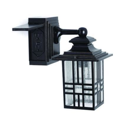 Outdoor Light With Outlet Hton Bay Mission Style Outdoor Black With Bronze Highlight Wall Lantern With Built In