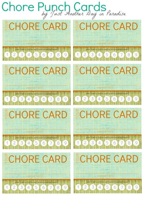 Template For 15 Day Punch Card by 24 Best Images About S Chores On Chore