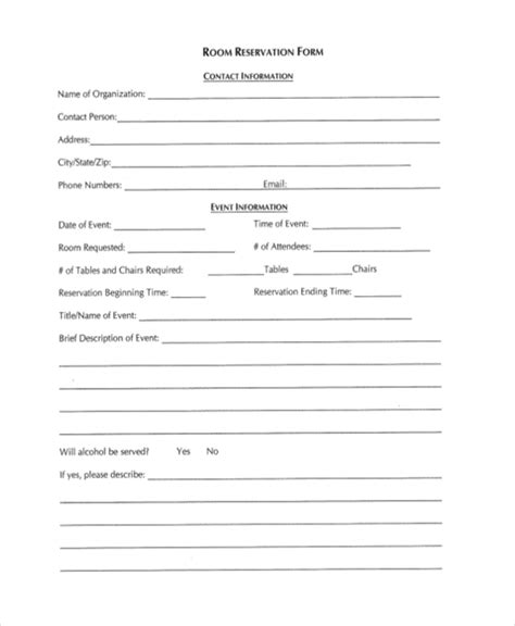 Room Reservation Letter Exle reservation form room gallery cv letter and