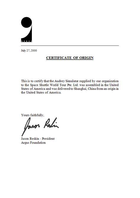 Letter Certificate Of Origin July 2000 Unistellar Industries Llc