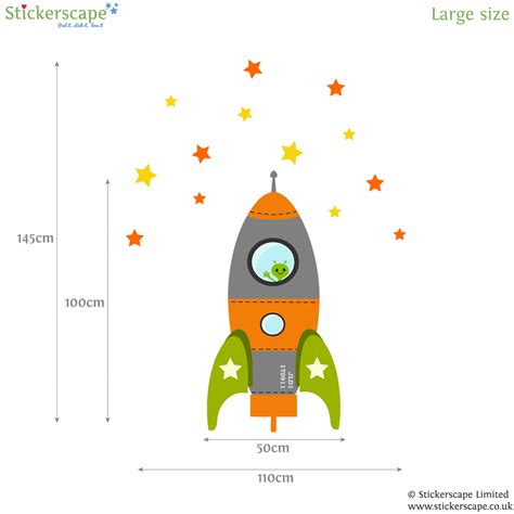 rocket wall stickers orange blast rocket wall sticker stickerscape uk
