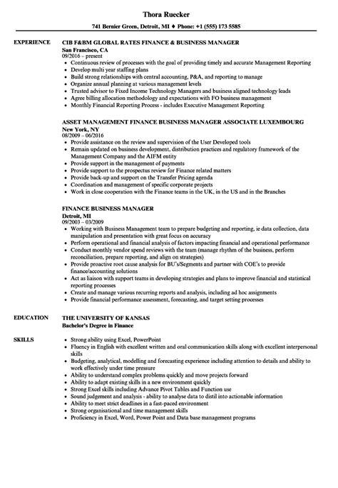 Business Manager Resume by Finance Business Manager Resume Sles Velvet