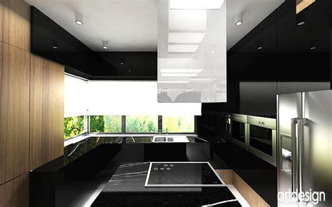 nowoczesny layout wnętrza domu w krakowie projekt hol kuchnia