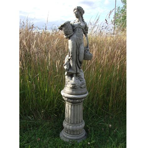 large basket lady on column hand cast stone garden