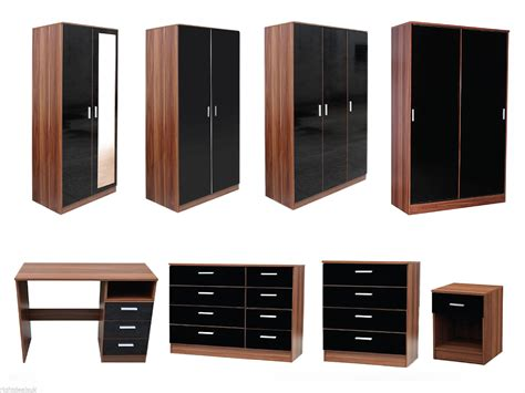 Walnut And Black Gloss Bedroom Furniture New Caspian High Gloss Black Walnut Bedroom Furniture Set Supreme Range
