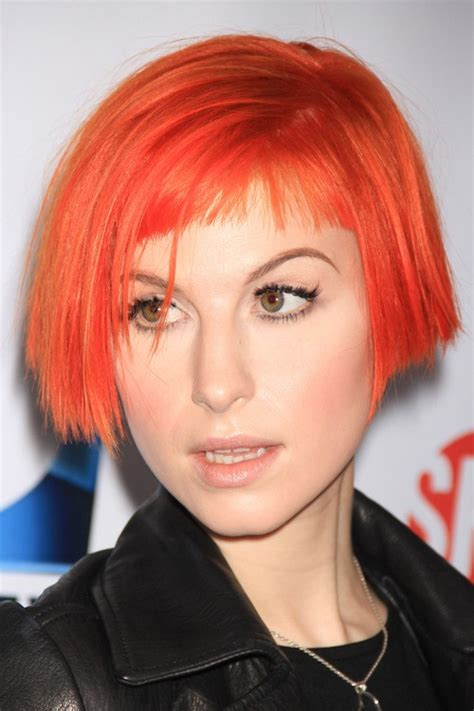 Hayley Williams Hairstyles by Hayley Williams Angled Baby Bangs Bob