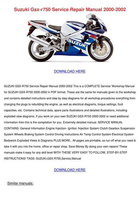 Suzuki Gsx R750 Service Repair Manual 2000 20 By