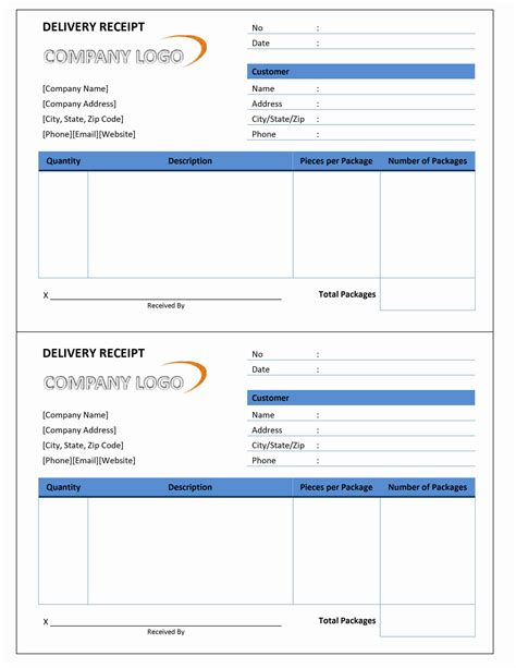 free delivery receipt template excel delivery receipt