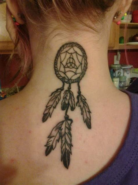 dream catcher tattoo back of neck indian dreamcatcher tattoo on back neck