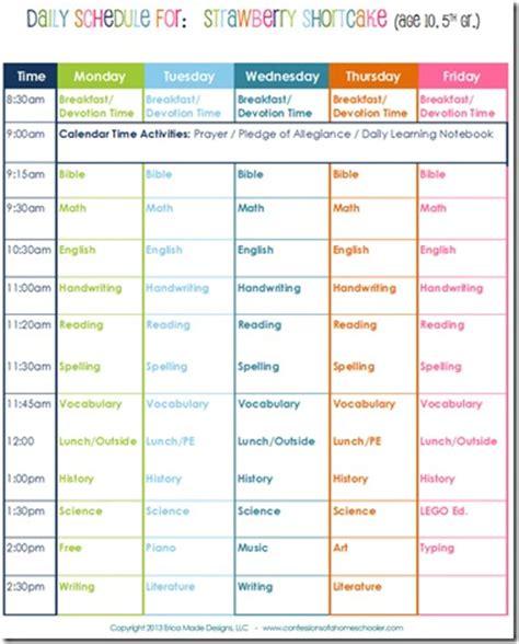 daily homeschool schedule  grade confessions
