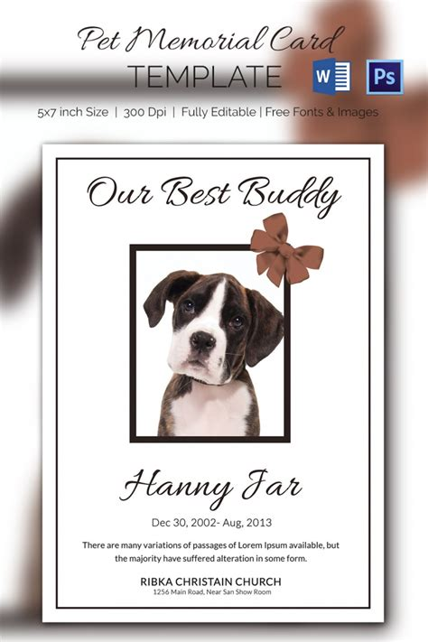 5 pet memorial card templates free word pdf psd