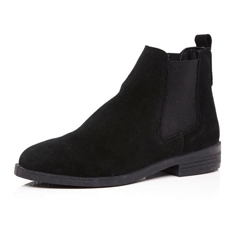 black suede chelsea boots river island black suede chelsea boots in black lyst