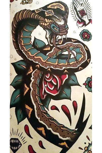 big traditional snake tattoo design