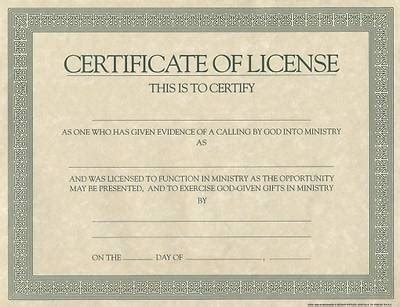 Certificate License For Minister Cokesbury Minister License Template