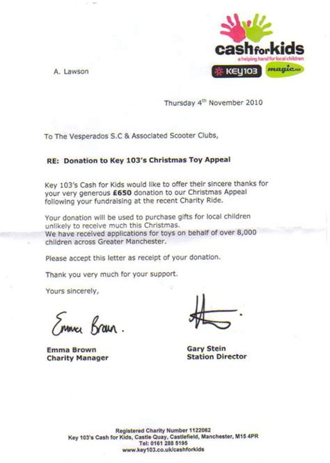 charity donation appeal letter our charity events vesperados scooter club