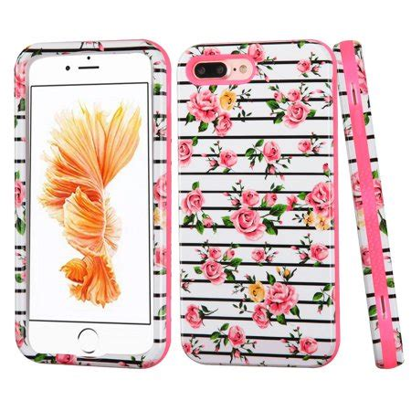 insten fresh roses hybrid 3 layer cover for apple iphone 8 plus iphone 7 plus pink