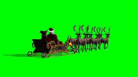 santa claus with sleigh and reindeer animated stock