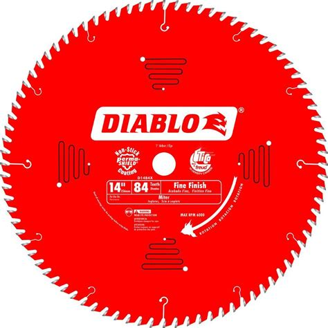 diablo 14 in x 84 tooth finish saw blade d1484x