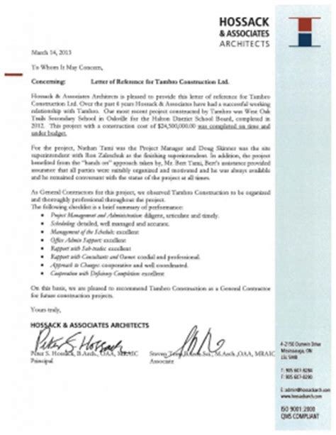 Reference Letter Sle Construction Reference Letters Tambro Construction