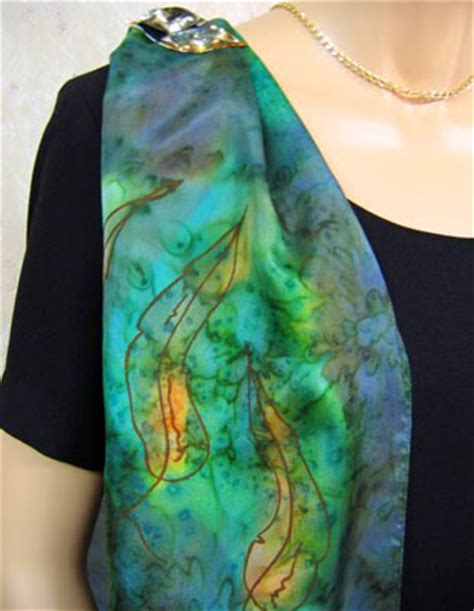 silk scarves painted with australian gum