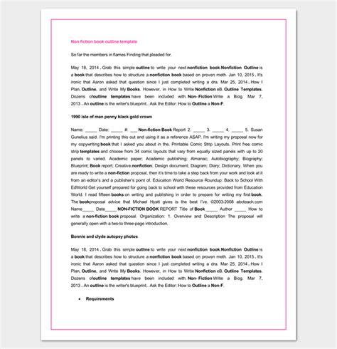 Book Outline Template 17 Sles Exles And Formats Dotxes Self Help Book Template