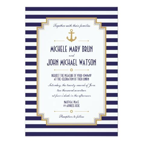 Nautical Wedding Invitation Template stylish nautical wedding invitation zazzle