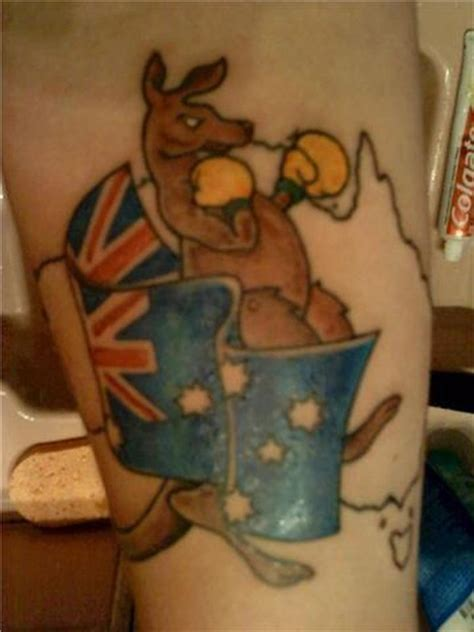 kangaroo tattoo designs boxer kangaroo with australian flag and map