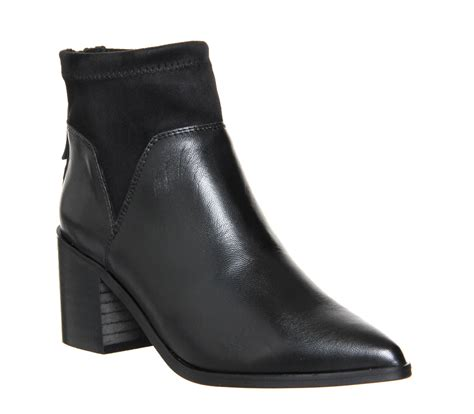 Black Master Boots Evin 02 by Office Fatale Stretch Ankle Boots Black Leather Textile