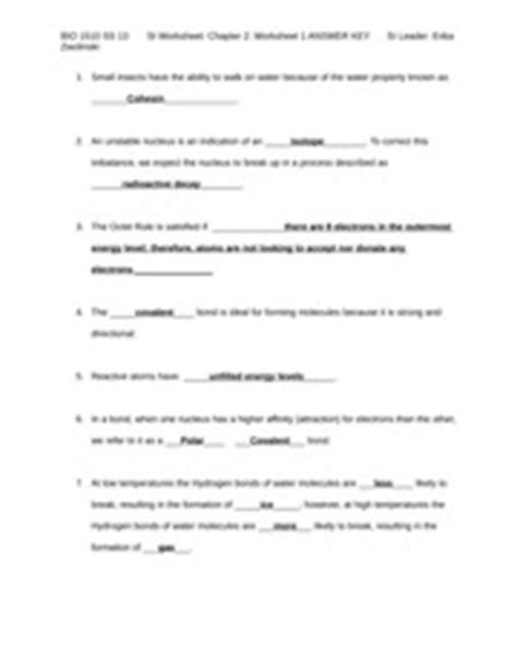 Properties Of Water Worksheet Key by Science Of Biology And Nature Of Molecules And Properties