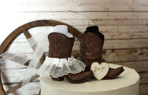 country style cake toppers cowboy boots wedding cake topper rustic by morganthecreator