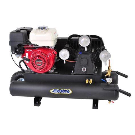 emax 10 gal 6 5 hp 4 cycle portable gas wheelbarrow air compressor with honda gas powered