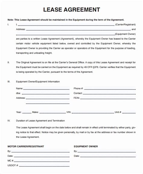 Owner Operator Lease Agreement Template Emsec Info Carrier Agreement Templates