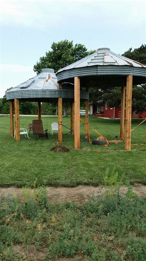 Container Gardens Pinterest - our grain bin gazebo s almost done still need to pour cement add tub in one and table and