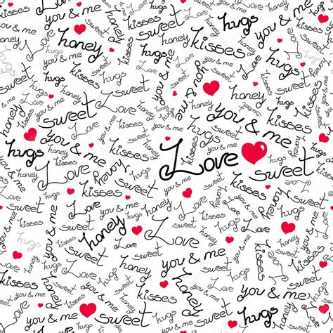 love pattern words vector seamless pattern with many words of love stock