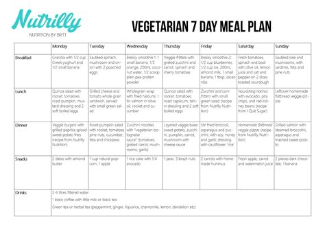 7 Day Detox Vegetarian Diet Plan by Meal Plans Nutrilly