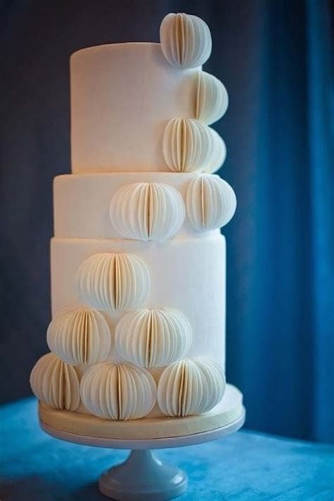 Contemporary Wedding Cakes by Modern Paper Lantern Wedding Cake Onewed