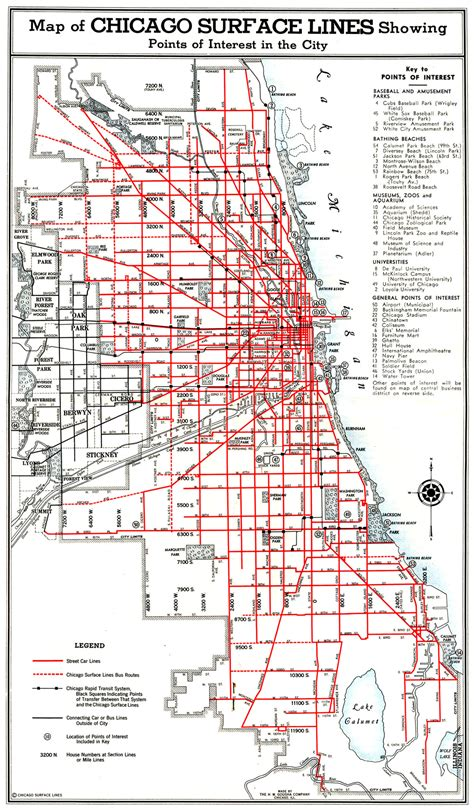 chicago map with lines chicago streetcars
