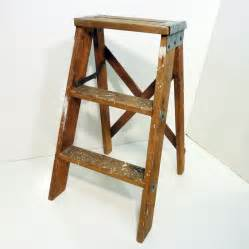 wooden step stool paint splashes vintage patina