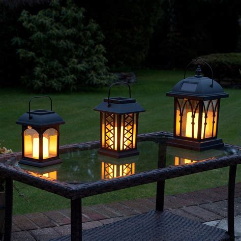 Solar Flickering Candle Lantern, Amber LED, 3 Pack