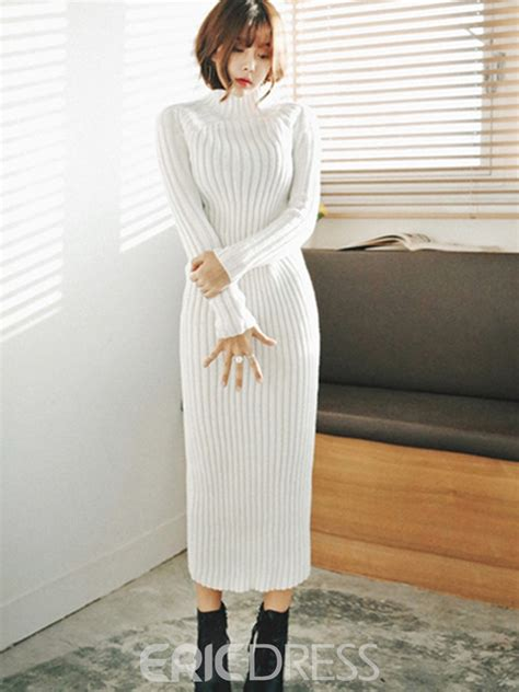 ericdress solid color knit ankle length sweater dress  ericdresscom