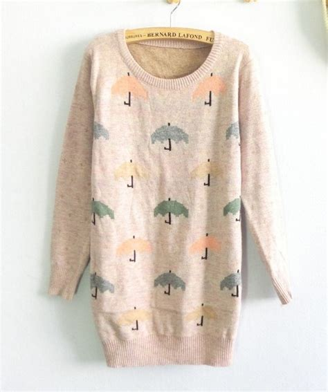 color neck pattern color umbrella pattern round neck sweater on luulla