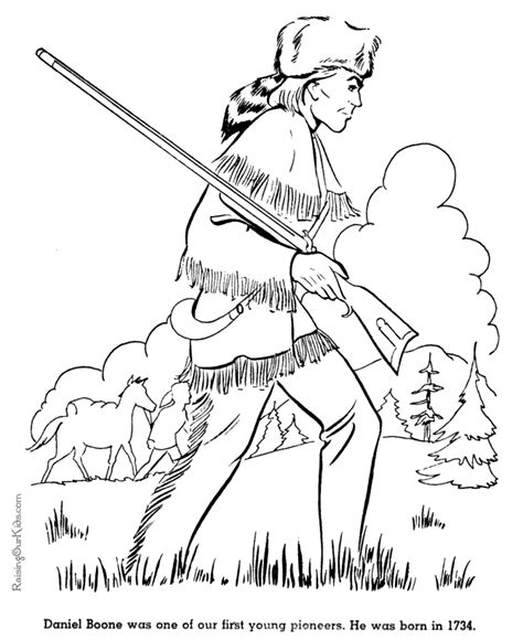 Free Printable Daniel Boone Coloring Pages 027 American History Coloring Pages