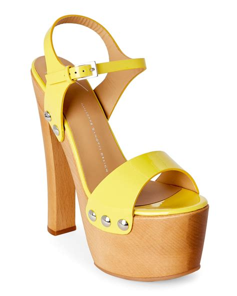 yellow platform sandals giuseppe zanotti yellow saintro wooden platform sandals in